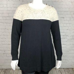 Charter Club Black & Cream Crewneck Sweater Sz 1X
